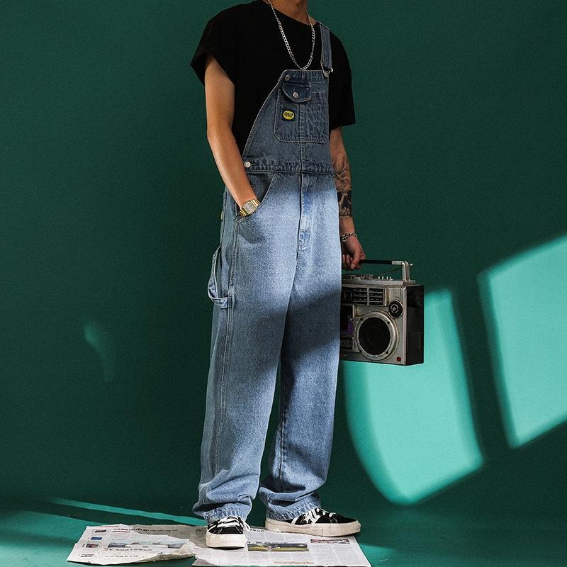 SUf5Q Denim breit breit Bein Männer Modemarke einteiligen Art lose koreanische Straps Straps Tooling Breitbein Hose Vater gerade Hosen