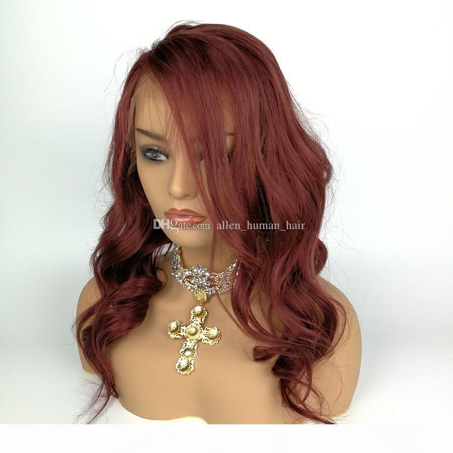 Piena del merletto dei capelli umani Parrucca ondulata di colore 99J Virgin malese dei capelli dell'onda naturale 150% di densità pre-pizzicate Hairline parrucca anteriore del merletto con capelli del bambino