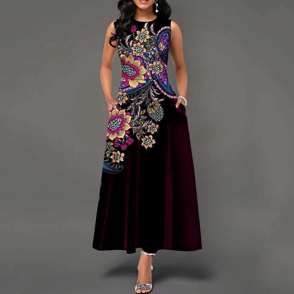 جيب جولة الرقبة أكمام عالية الخصر فستان طويل خمر الزهور طباعة المرأة ماكسي خمر اللباس ريترو فساتين عشاء أنيق