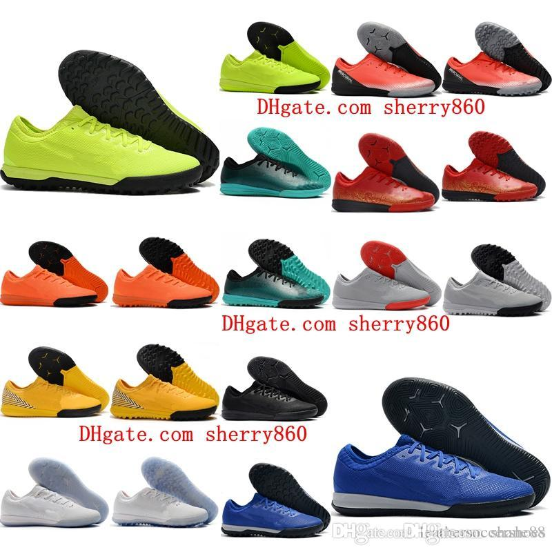 2019 kapalı futbol ayakkabıları Mercurial VaporX VII Pro TF IC cr7 futbol ayakkabıları futbol kramponlarını Mercurial superfly chuteiras de futebol mens
