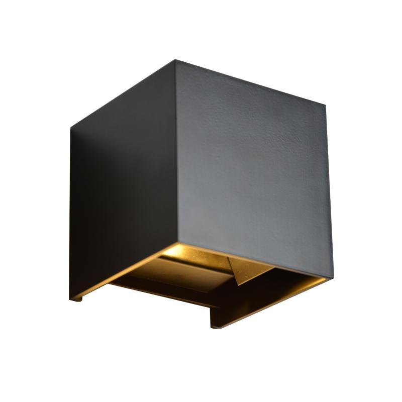 12V Input Garden Sconce Wal Lâmpada Cube Rejeição parede LED impermeável luz preto cor branca para Exterior Sala Decoração