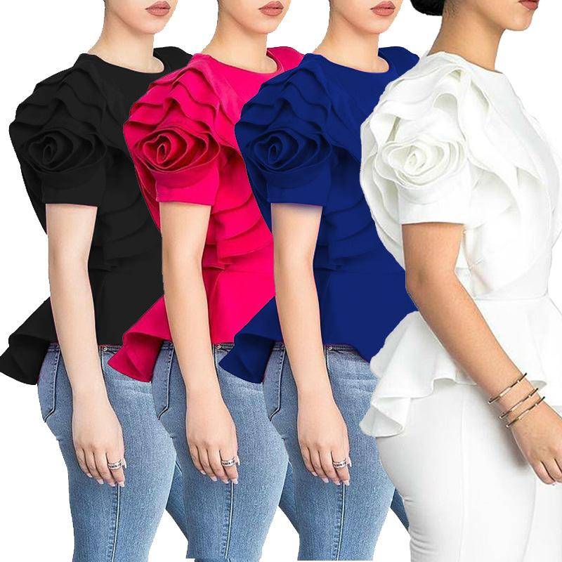 DH089 4 Color Women Elegant Tee Casual Ruffles Shirt Short Ruffles Flower Sleeve Party Tee O Neck Sexy Office Lady Slim T Shirt