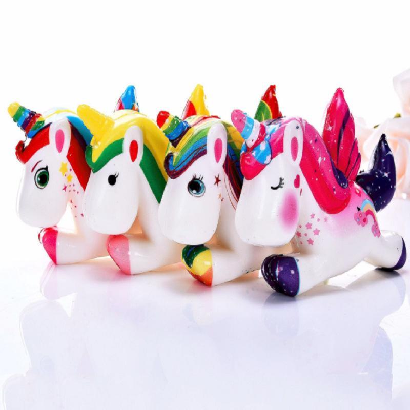 Unicorn Squishy 8 * 12cm weiche langsame Rising nette Karikatur-Pferd Squeeze Duft Stress-Dekompression spielt Neuheit-Einzelteile OOA6290