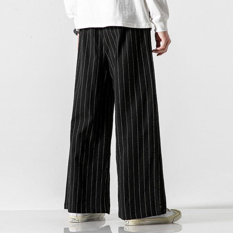 Sinicism tienda hombres del estilo chino de rayas pierna ancha pantalones para hombre del estilo de Japón 2020 pantalones flojos Hombre de gran tamaño de la vendimia pantalones casuales
