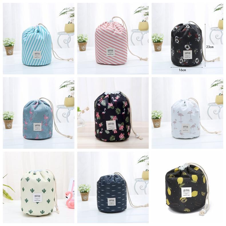 9colors Barrel Shaped Cosmetic Bags Drawstring Travel Cosmetic Bag Elegant Drum Wash Bags Flamingo Makeup Organizer Storage Bag GGA3198-1