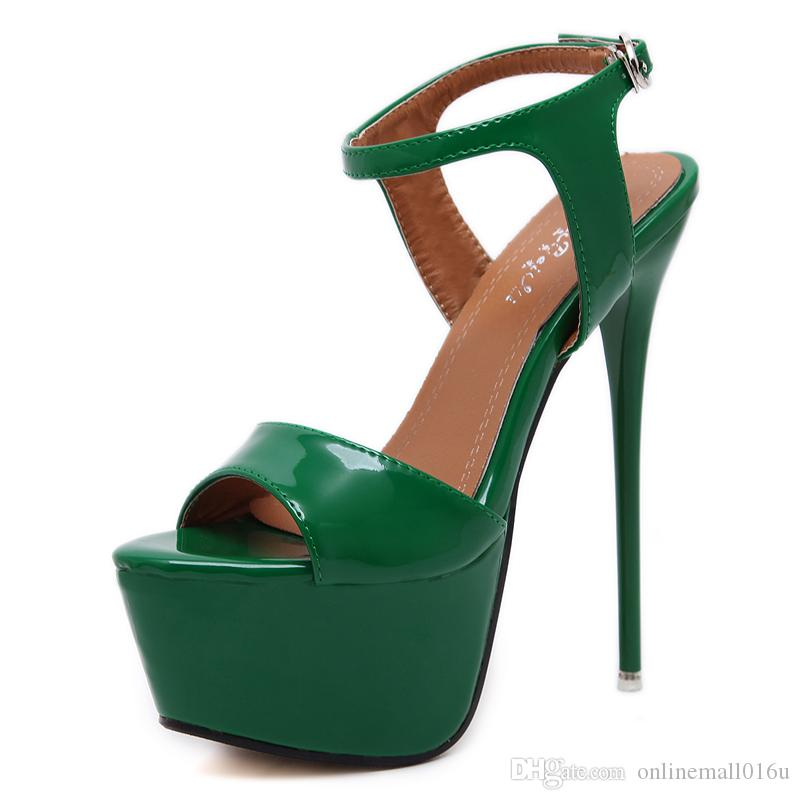 Tamaño 34-46 Cuero de la Pu Sandalias de tacón alto 16 cm Zapatos Stripper Zapatos de fiesta de bodas de verano Gladiador de la mujer Sandalias de plataforma