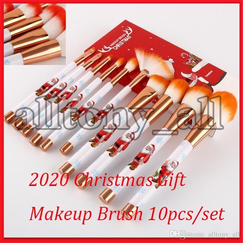 2020 Drop Shipping Joyeux cadeau de Noël Maquillage Brosses 10pcs / set visage Outils de maquillage de haute qualité