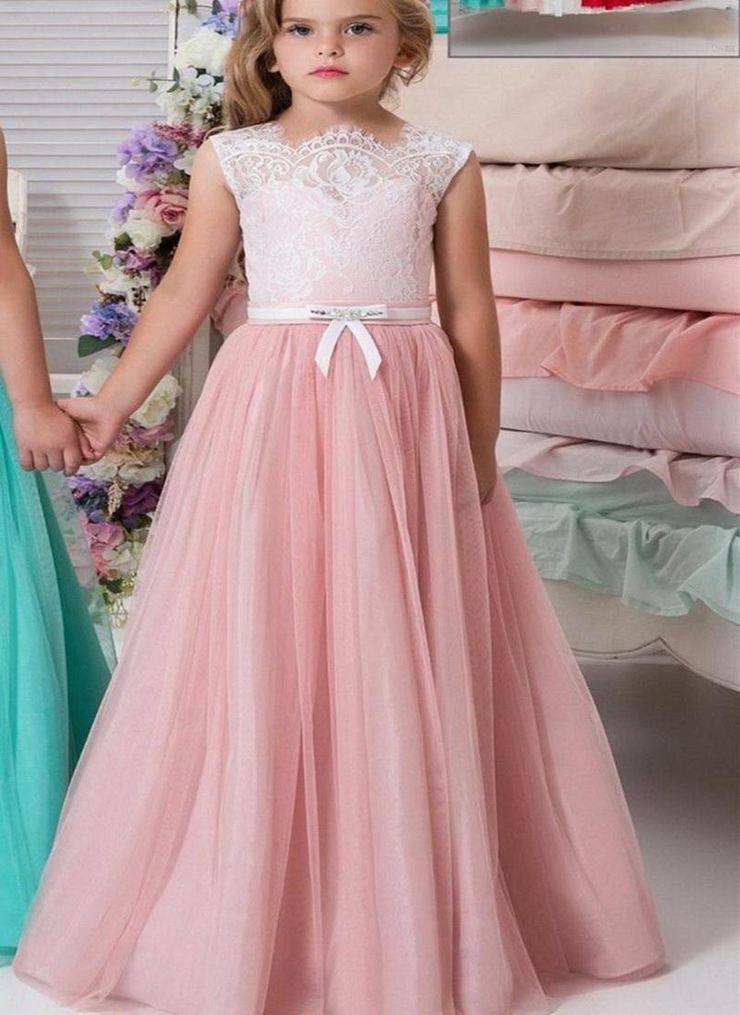 Pink menthe verte robes fille fleur dentelle Princesse Longueur étage filles Pageant Robes robes première communion