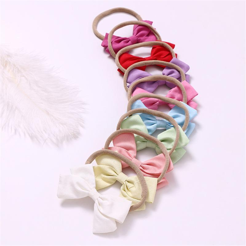 9 Pcs/lot Handmade Nylon Headband With 9 colors Bow For cute Baby Girls Hair Accessories High Quality cotton Headwear