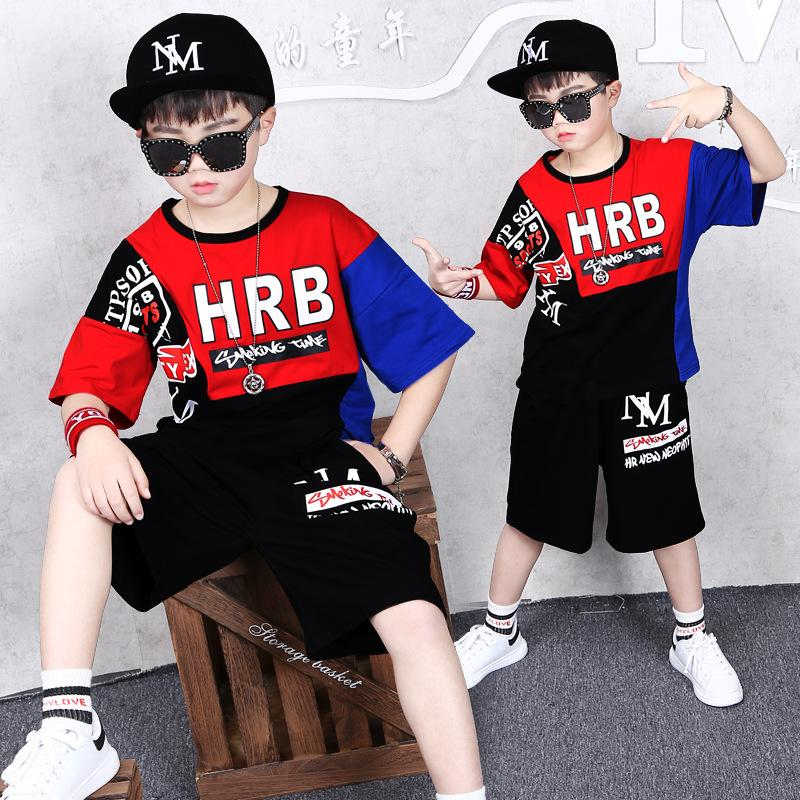 Boys Summer T-shirt Shorts Suit Kid Handsome Round Neck Shirt Baby Sweatshirt Pants Hip-hop Pullover Children's Clothing 2 Sets