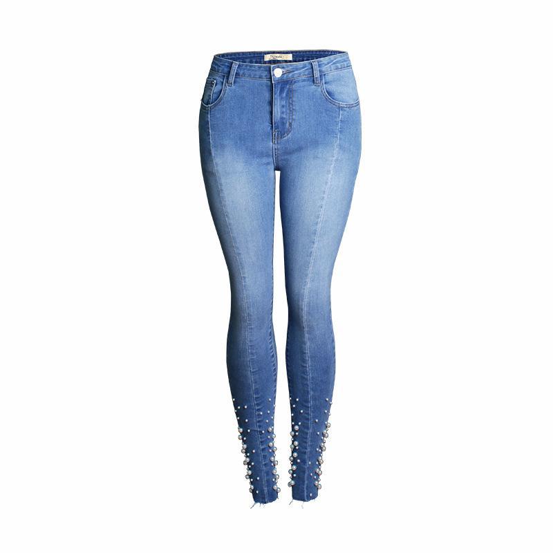 LISER 2019 women's casual high street hips slim feet pants denim jeans high waist tight-fitting slim female pencil pants