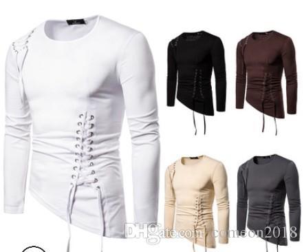 mens designer t shirts Slim Fit Unregular Designer Long Sleeves Short T Shirt 2019 Fashion Autumn Bandage Crew Neck Large Size T Shirt