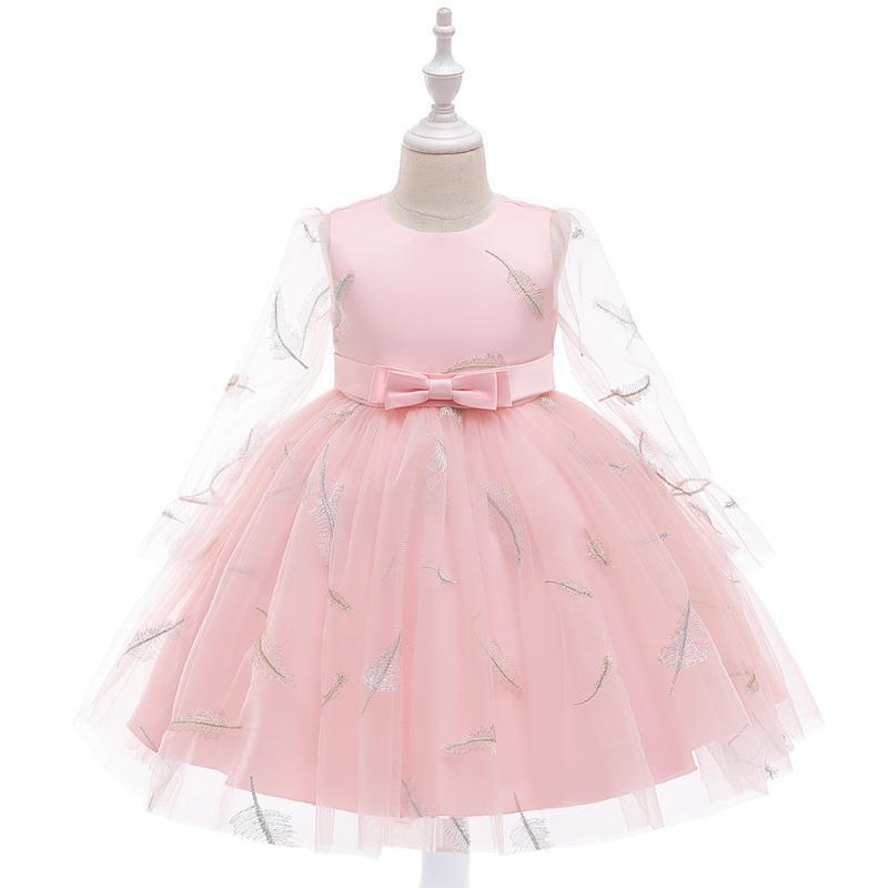 2020 حار بيع رخيصة الوردي زهرة بنات فساتين طويلة الأكمام لحفلات الزفاف الكرة ثوب عيد ميلاد فتاة بالتواصل