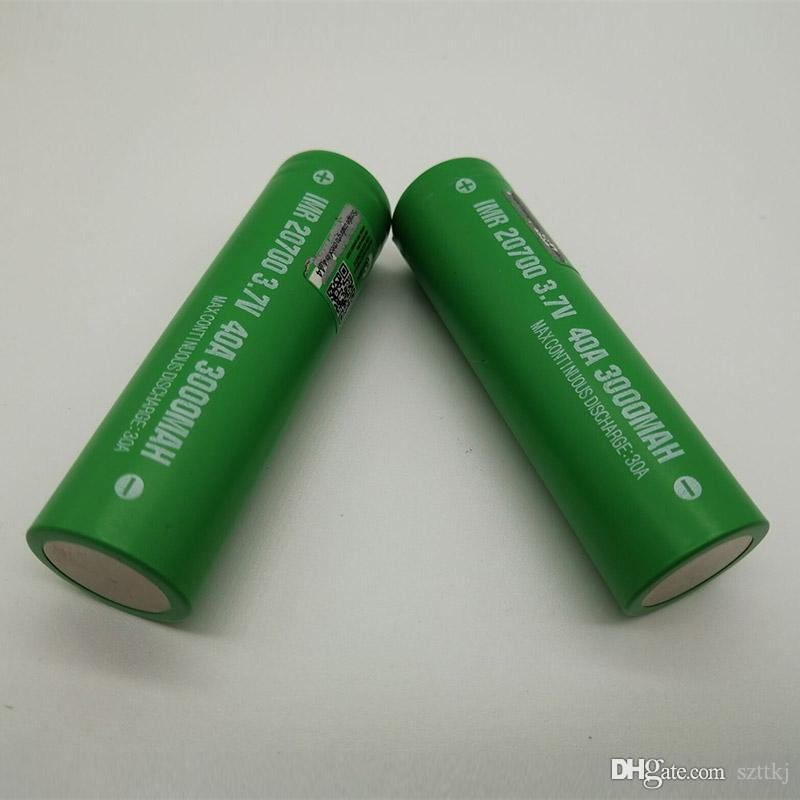 100% High Quality IMR 20700 Battery 3000mAh 3.7V 40A 18650 Batteries Rechargable Lithium Battery Fedex Free Shipping