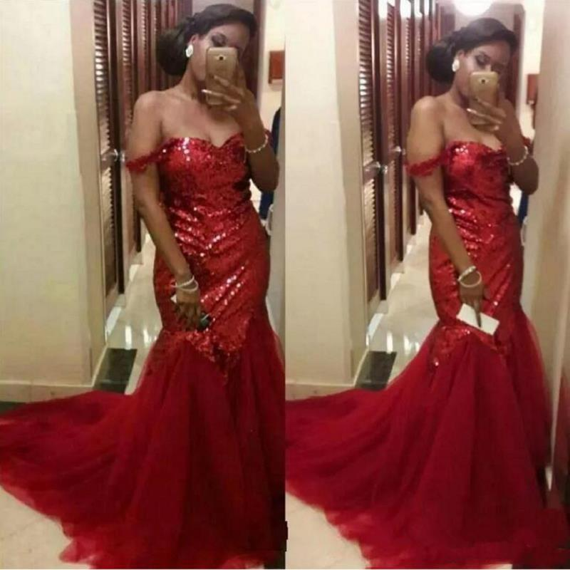 2020 African Sequins Mermaid Prom Dress Sexy Off The Shoulder Evening Gowns Red Tulle Special Occasion Party Dress