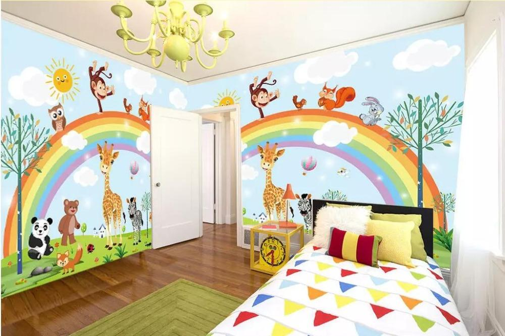 Bacal Mural обои 3D рисованные мультфильм животных Радуга детская комната фон стены мебель украшения 3d обои