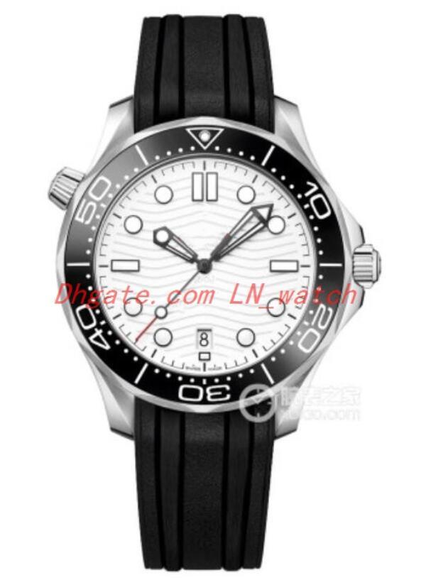 2020 hombres de goma del reloj de los hombres de moda de alta calidad de la manera del reloj mecánico automático de 42 mm de diámetro Negro correa de caucho negro hombres del dial de Watc