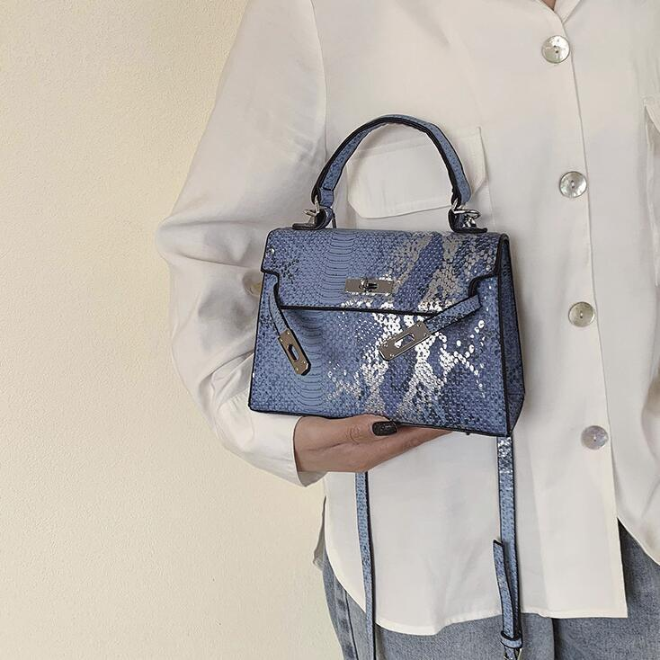 Factory women handbag sexy crocodile pattern handbag street trend contrast leather shoulder bag personality crocodile leather messenger bag