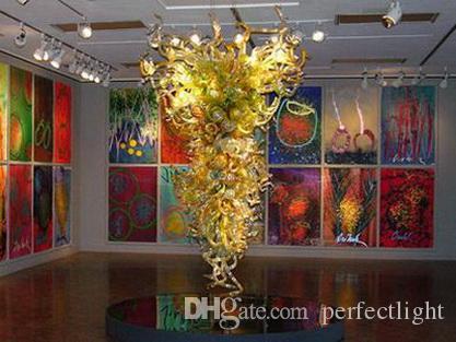 Бесплатная доставка Китай завод-розетка Vinatge Art Crystal Chandelier Hotel жилое выдувное стекло энергосберегающий подвесной светильник