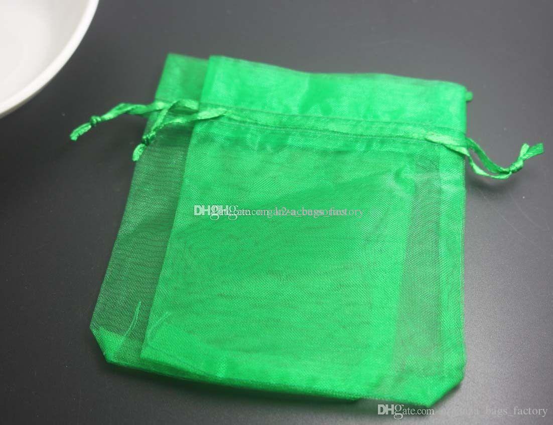 Novos 100 pcs deixam cordão verde Organza Presente Bolsas de Embalagem 7x9cm 9x12cm 10x15cm Festa de Casamento Festa de Natal Favor Presente Sacos