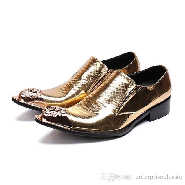 El oro de cuero superior de los hombres de Oxford Zapatos Resbalón punta estrecha formales Brogues más el tamaño 46 Zapatos de la boda vestido de Negocios Pisos de hierro