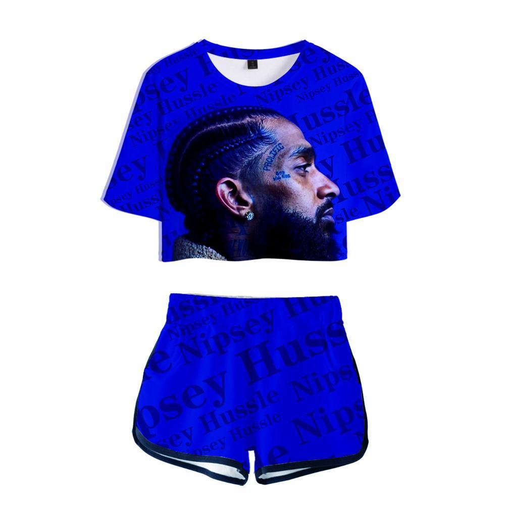 Nipsey Hussle 3d impresa de las mujeres de dos piezas de cultivos Conjunto de moda de verano de manga corta Top + short 2019 la venta caliente de Hip Hop Streetwear ropa J190425