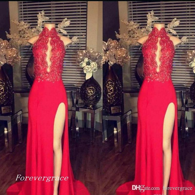 2019 appliques de dentelle vintage sexy robe de bal rouge col haut côté split robe de soirée pageant sur mesure plus la taille