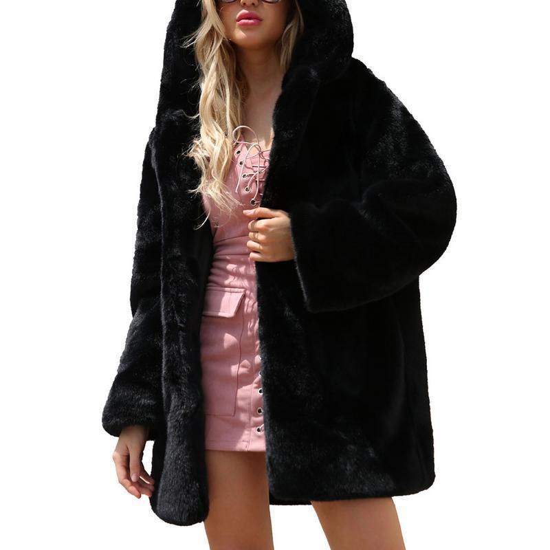 Зимний теплый искусственный мех с капюшоном Длинные пальто Теплый черный цвет Женская куртка Модные шубы Brand New s-3XL
