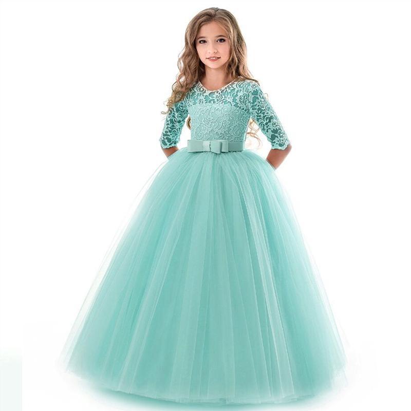 New Dress Lace Flower Crianças bordado vestido para meninas Vestidos crianças do vintage para o partido casamento formal 14t T200709 vestido de baile