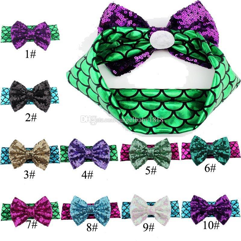 Girl  Metallic Hair Accessories Mermaid Headband Bow Sequins Baby Headwrap