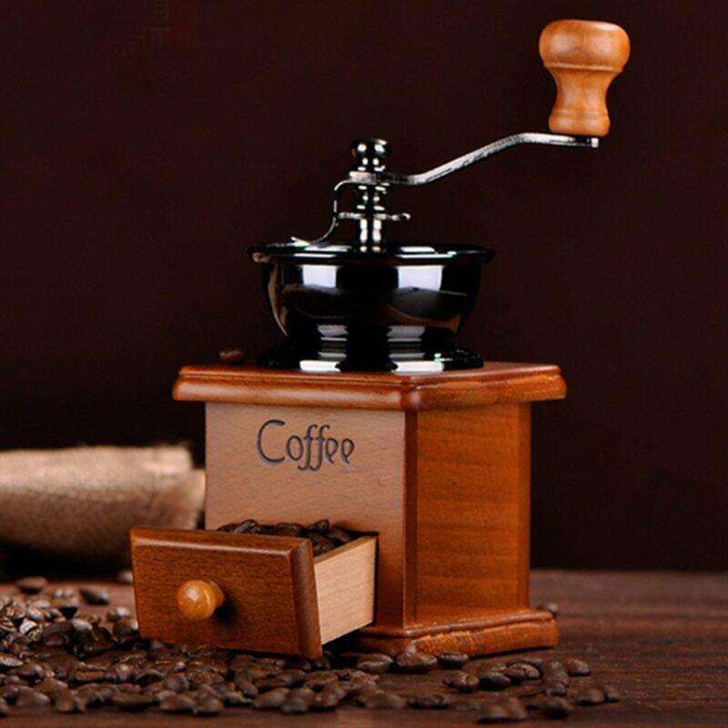 2020 Vintage Manuel El Crank Ahşap Metal Kahve Biber Herb Değirmen Baharat Öğütücü Ayarlanabilir Kabalaşma Kahve El Öğütücü T200523