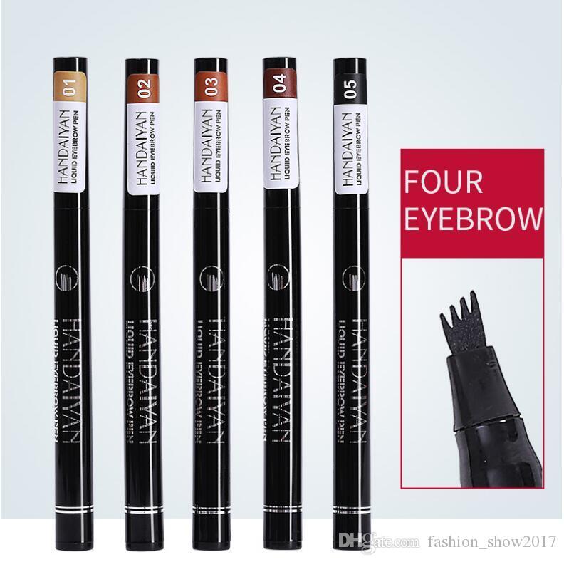 Hanveiyan Kaşları 4 Çatal Mikro Oyma Sıvı Kaş Kalem Siyah Kahverengi Su Geçirmez Tonu Göz Kaş Dövme Kalem Kaş Arttırıcı
