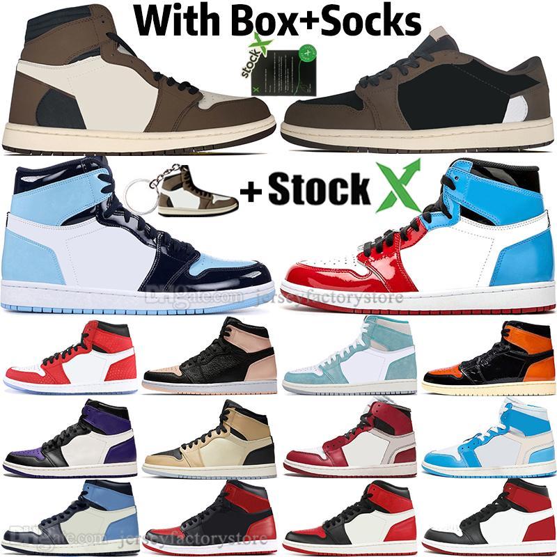 1 High Travis Scotts Basso Fearless Obsidian UNC Mens scarpe da basket viola corte 1s Chicago Banned Toe Bred Nero Uomo Donna Sneakers Sport