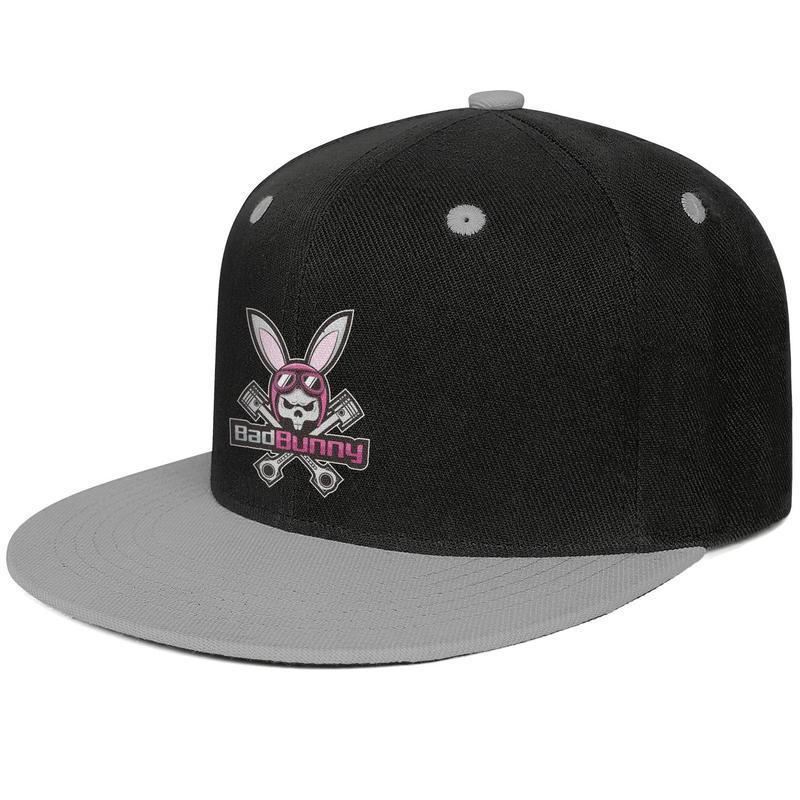Mens Womens Outdoor Cap Flat Blue-Bunny-Black-Snapback Cotton Hat Structured