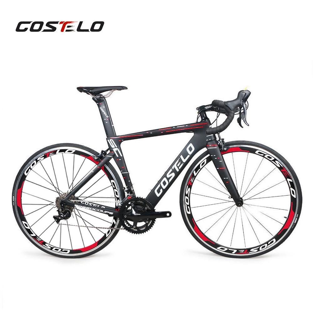 페달 자전거 장비와 크리스마스 선물 패키지 Costelo Speedcoupe 탄소 섬유 도로 자전거 프레임 전체 자전거
