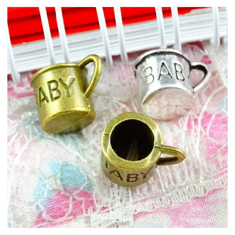 Gioielli 50pcs Teacup fascino bronzo antico d'argento antico fai da te epoca per rendere i fascini accessori bambino Cup Coppa incanta il 9 * 12,4 mm