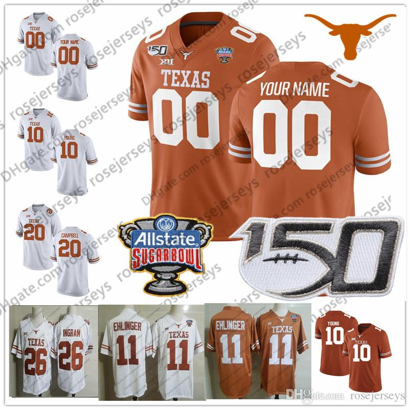 Custom Texas Longhorns 2019 Football أي اسم رقم برتقالي أبيض 11 Ehlinger 7 Sterns 9 Collin Johnson Young Sugar Bowl NCAA 150TH Jersey
