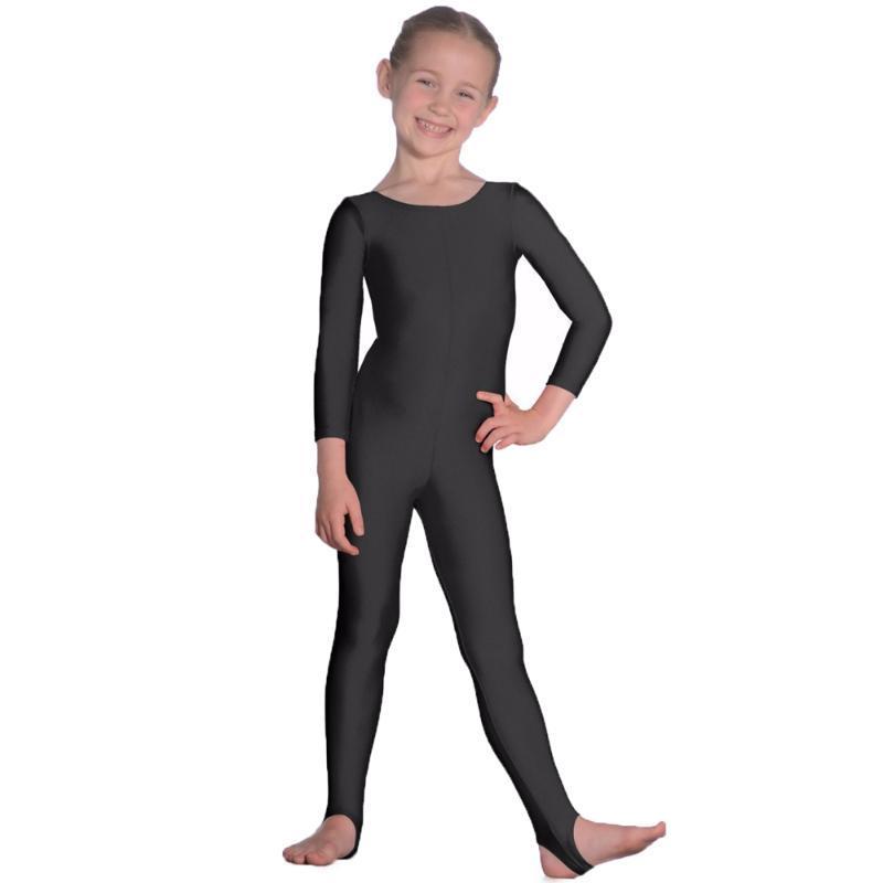 Kızlar Üzengiler Dans Jimnastik Unitards catsuits Çocuk Naylon Likra Uzun Kollu Bale unitard Giyim Çocuk