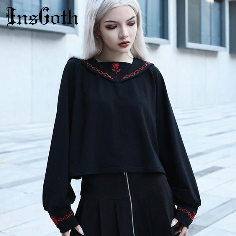 InsGoth Harajuku Loose Women Hoodie Gothic Black Hoodys koreanische beiläufige Collage Wind Stickerei Lady Pullover Hoody
