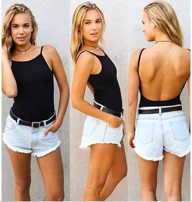 Frauen-Körper-Klage-Spaghetti-Bügel Backless Bodysuit Black Body Tops 2015