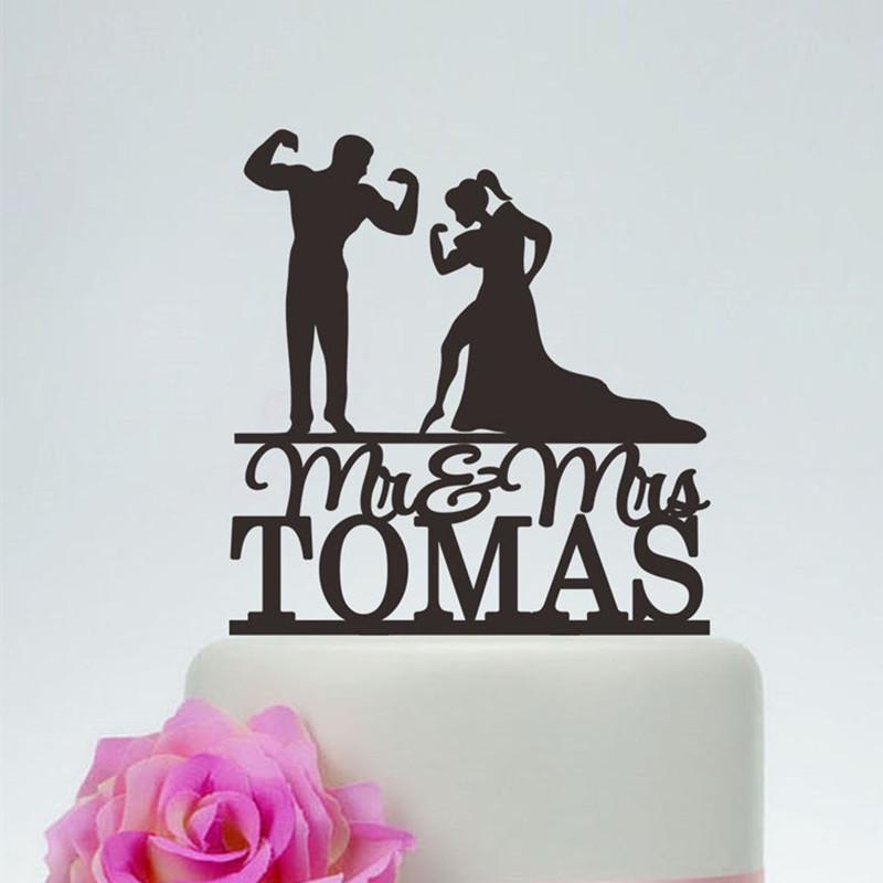 مضحك رجل العضلات وامرأة والصورة الظلية كعكة الزفاف توبر مخصص السيد السيدة كعكة شخصية مناسبات الزفاف