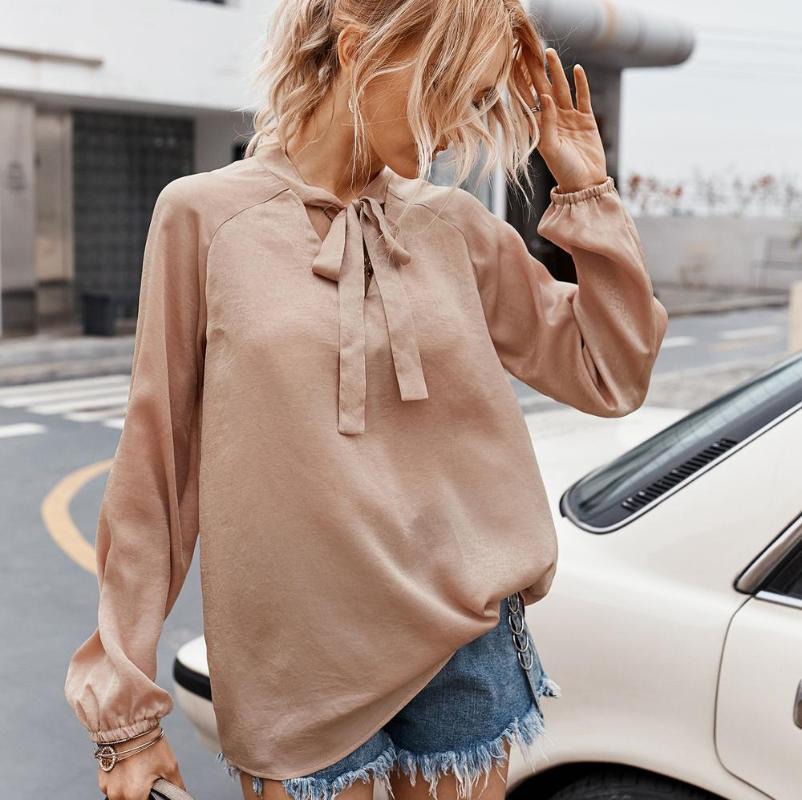 Mulher Moda cor sólida veludo camisa arco V-neck lanterna camisa de manga comprida superior pendulares roupa ocasional do assentamento