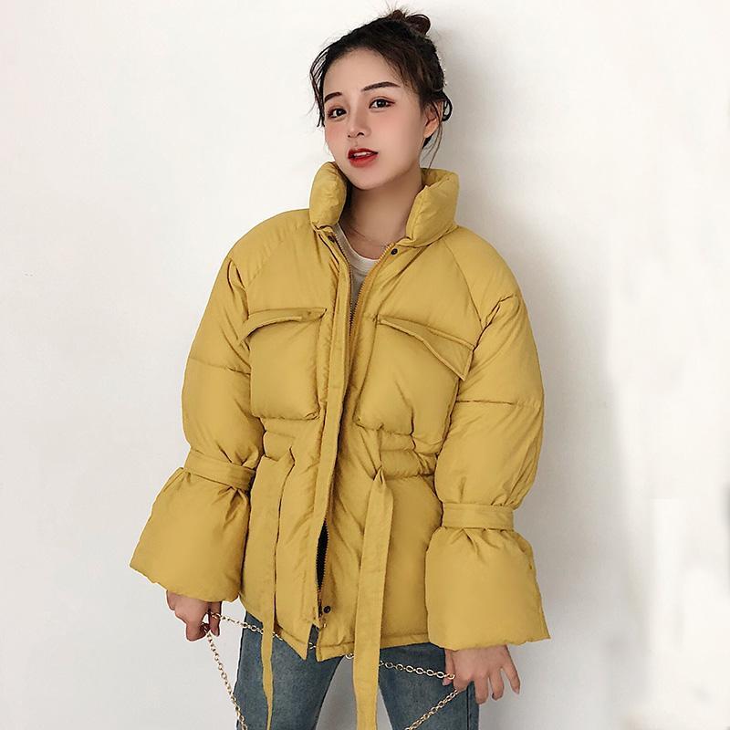 Женщины зимние куртки ветровки 2020 Мода Толстые теплые фонариков рукавом Пуловеры Тонкий твердый сладкий женщина