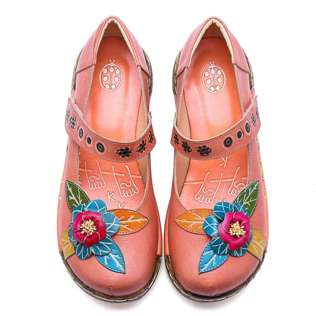 Heiße Verkauf-Weinlese Art-Frauen-flache Schuhe Frauen-Frühlings-Sommer Socofy echtes Leder-Plattform-beiläufige Schuhe handgemachte Blume neu