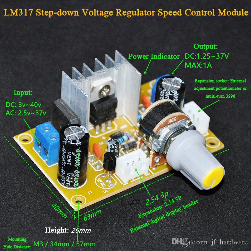 LM317 Adjustable Voltage Regulator DC Step Down Voltage Governor LM317 Buck Module Board with Digital Voltmeters and Lead