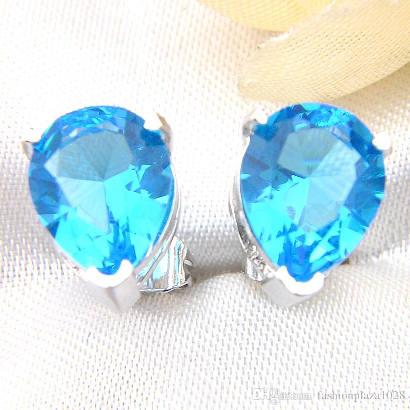 Luckyshine 925 Sterling Silver Plated Jewelry Water Drop Sky Blue Topaz Stud Holiday Party Cz Stud Earrings for Women