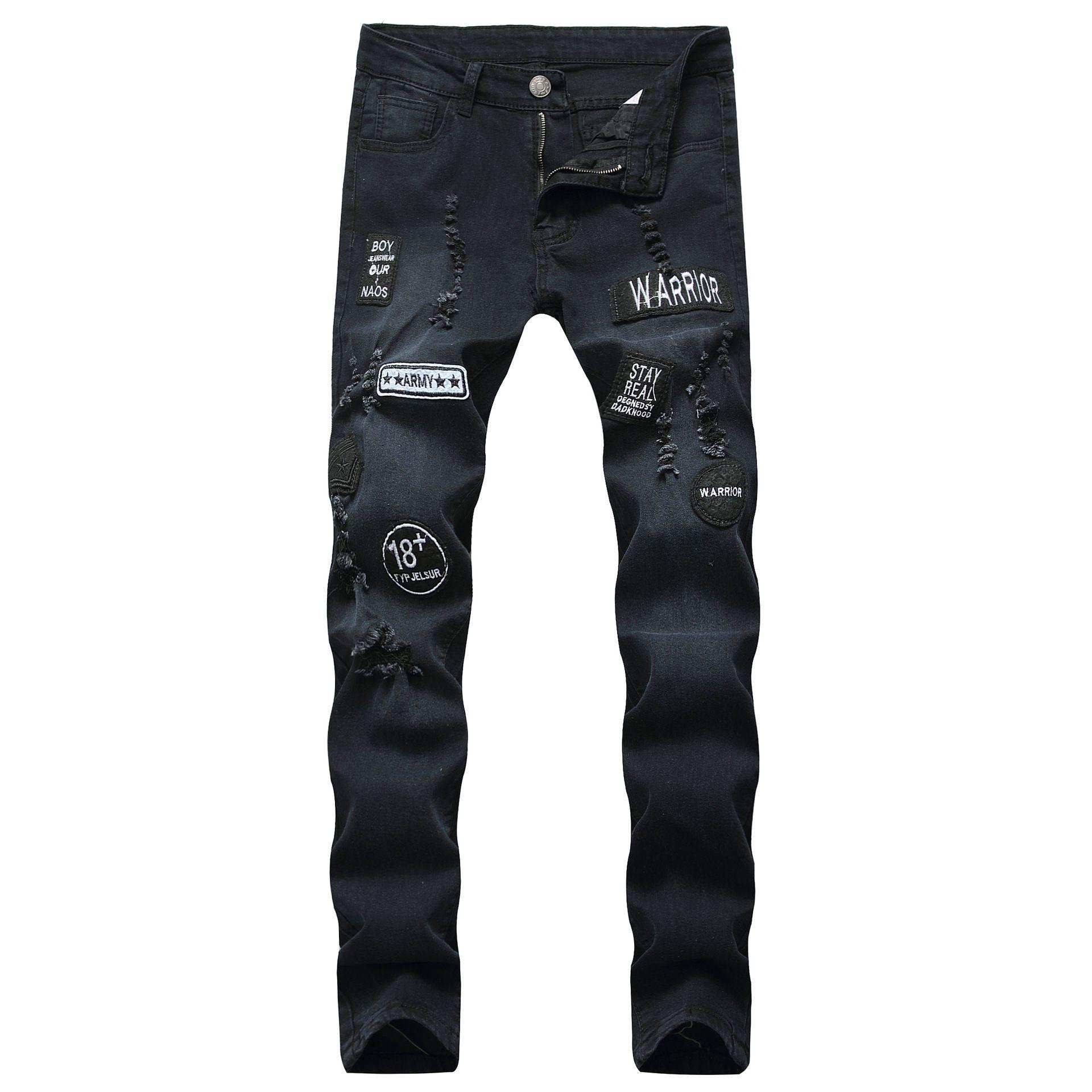 Pop2019 Çapraz Sınır Avrupa Sokak Marka Kovboy Erkek Kişilik Fold İnce Bağlı Ayak Pantolon Rozeti Delik Gelgit Kot
