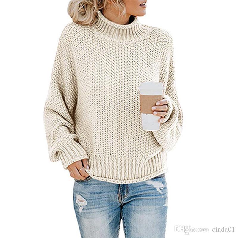 10 couleurs Femmes Mode hiver Pull à col roulé en tricot lâche Pulls manches longues de couleur unie Top Femme Automne Femme Pull