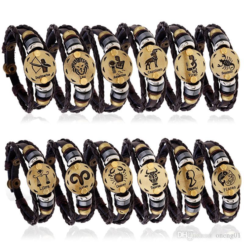 Унисекс двенадцать созвездий браслет для женщин и мужчин ручной работы 12 знаков зодиака кожаные браслеты фестиваль подарок на день рождения