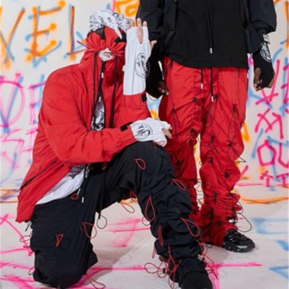 Mode Cordon Tridimensionnel Modélisation Sport Casual Pantalon Vent Haute Rue Punk Hommes Et Femmes Couple Designer Pantalon HFWPKZ103